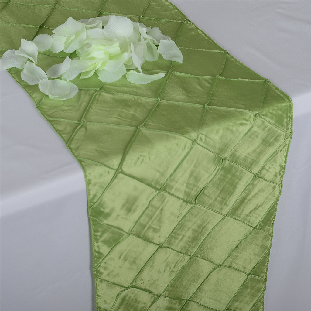 Apple Green - 12 inch x 108 inch Pintuck Satin Table Runner