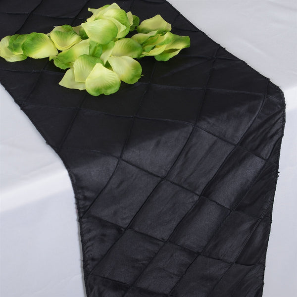 Black - 12 inch x 108 inch Pintuck Satin Table Runner