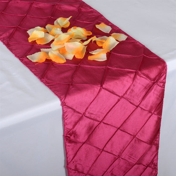 Fuchsia - 12 inch x 108 inch Pintuck Satin Table Runner
