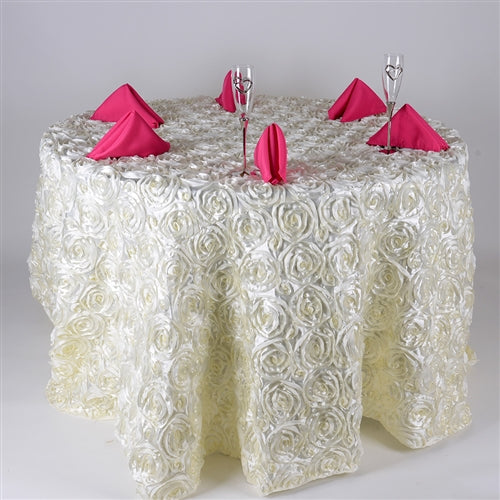 Ivory 132 Inch Rosette Tablecloths