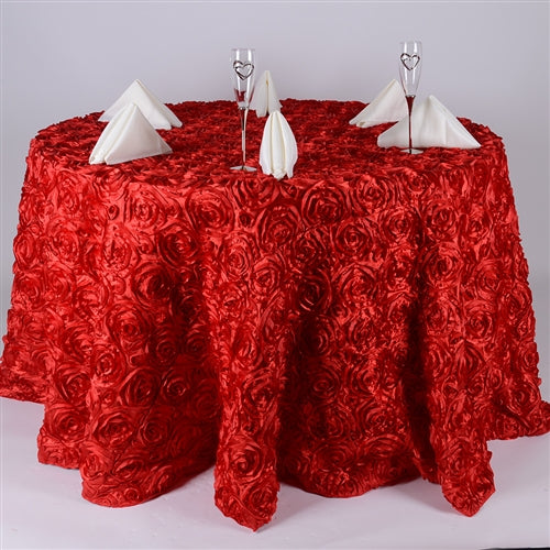 Red 132 Inch Rosette Tablecloths