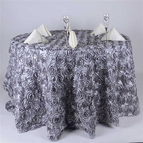 Silver 132 Inch Rosette Tablecloths