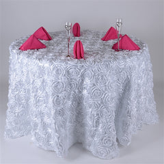 132 Inch Round Rosette Satin Tablecloths