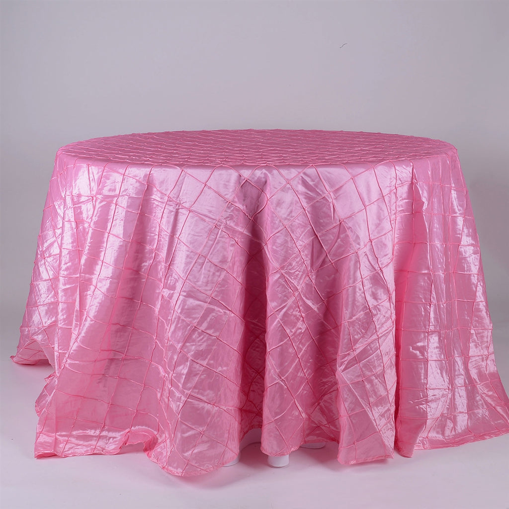 Pink - 132 inch Round Pintuck Satin Tablecloth