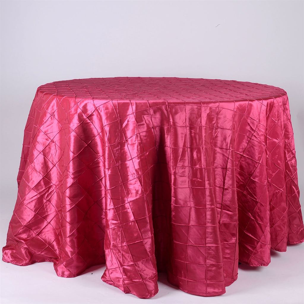 Fuchsia - 132 inch Round Pintuck Satin Tablecloth