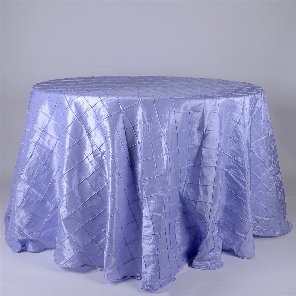 Lavender - 132 inch Round Pintuck Satin Tablecloth