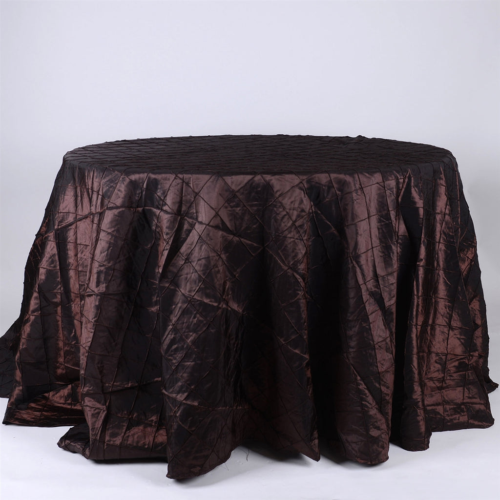 Chocolate Brown - 132 inch Round Pintuck Satin Tablecloth