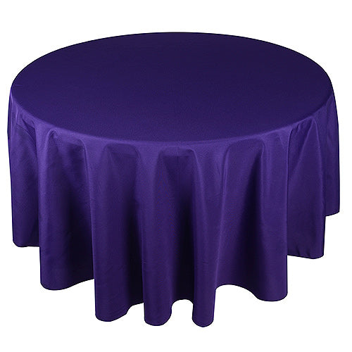 Purple - 90 Inch Round Tablecloths - ( W: 90 Inch | Round )