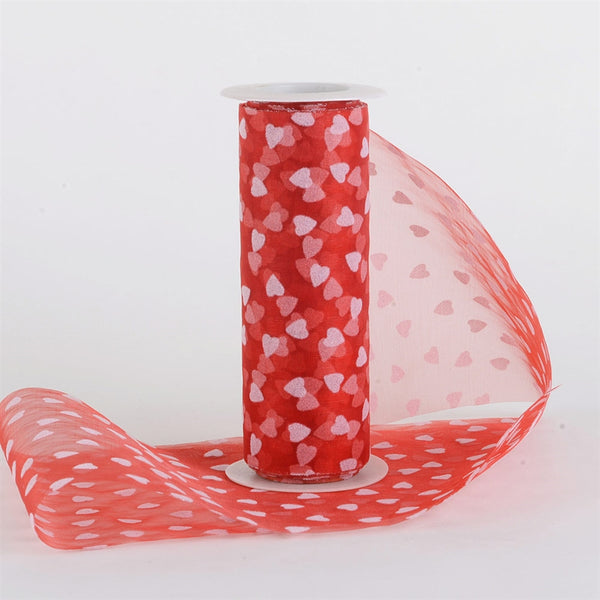 Red White Organza Heart Roll  ( 6 Inch |10 Yards )