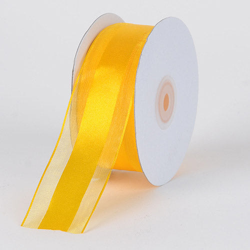 Light Gold - Organza Ribbon Satin Center - ( W: 5/8 inch | L: 25 Yards )
