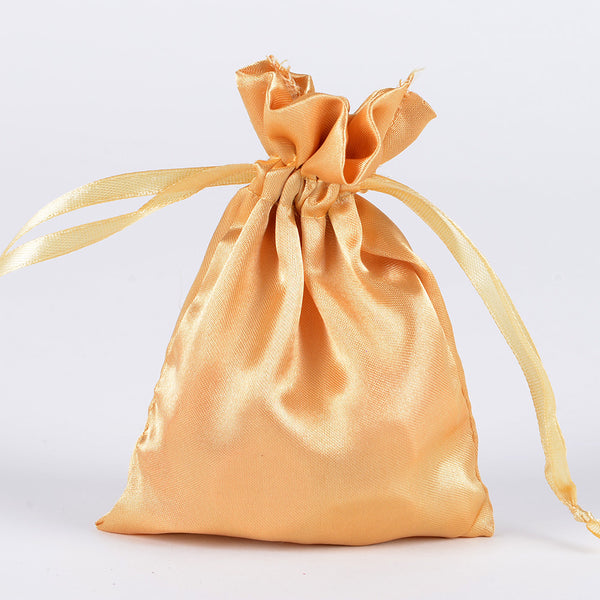 Gold - Satin Bags - ( 3x4 Inch - 10 Bags )