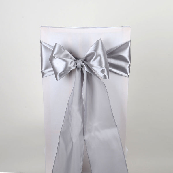 Silver - Satin Chair Sash - ( Pack of 10 Piece - 6 inches x 106 inches )