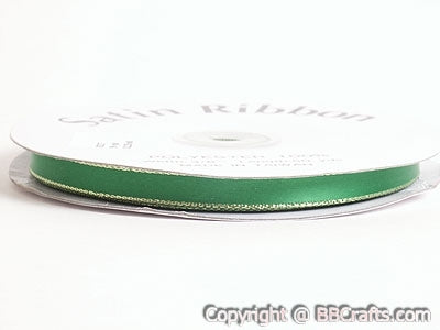 Satin Ribbon Lurex Edge Emerald with Gold Edge ( 1/8 inch | 100 Yards )