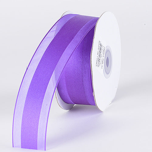 Purple - Organza Ribbon Satin Center - ( W: 5/8 inch | L: 25 Yards )