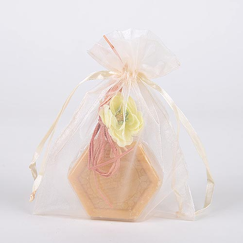 Ivory - Organza Bags - ( 6x15 Inch - 6 Bags )