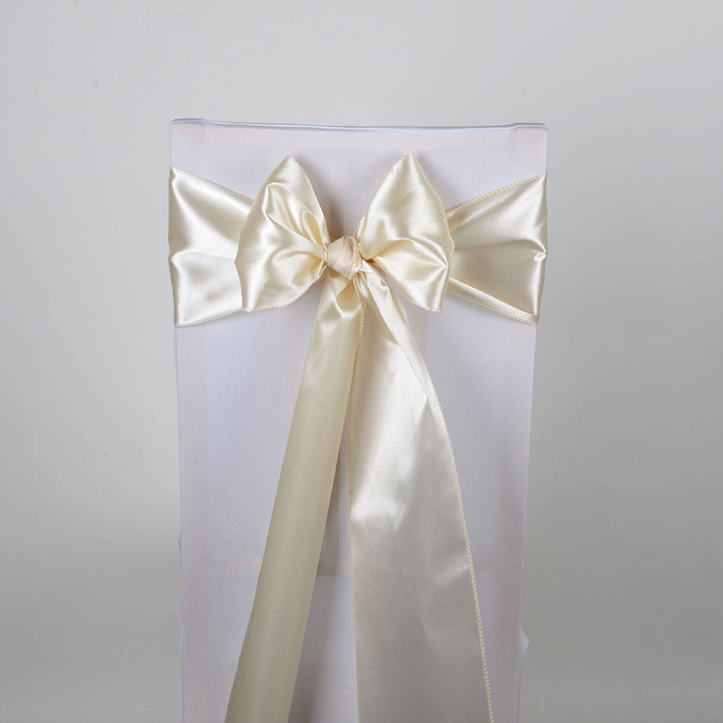 Ivory - Satin Chair Sash - ( Pack of 10 Piece - 6 inches x 106 inches )