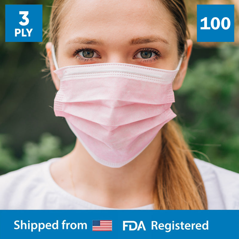 3-Ply Disposable Protective Pink Face Mask - 2 Boxes - 100 Masks