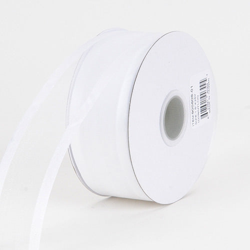 White - Organza Ribbon Two Striped Satin Edge - ( 1-1/2 inch | 25 Yards )