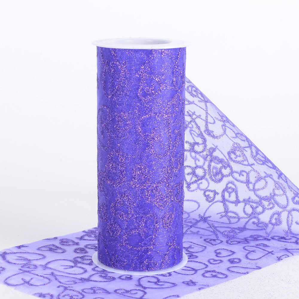 Purple - 6 Inch Glitter Hearts Organza Roll - ( W: 6 Inch | L: 10 Yards )