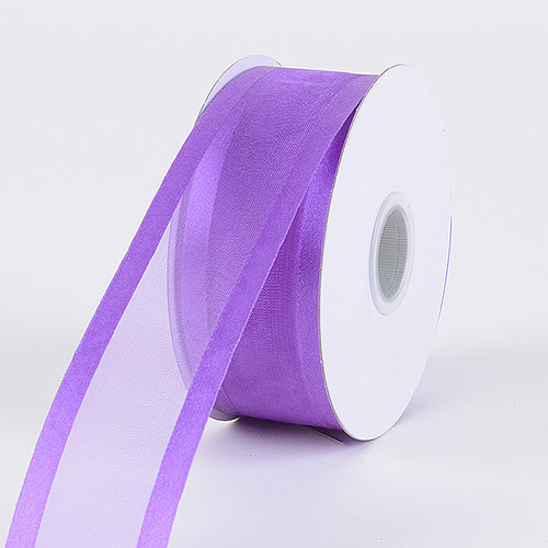 Purple - Organza Ribbon Two Striped Satin Edge - ( 1-1/2 inch | 25 Yards )