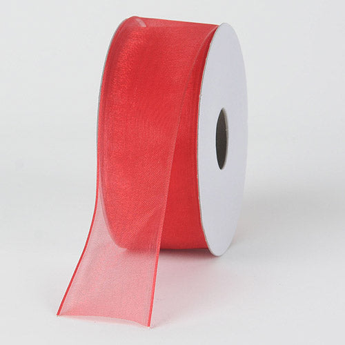 Red - Organza Ribbon Thin Wire Edge 25 Yards - ( 1-1/2 inch | 25 Yards )