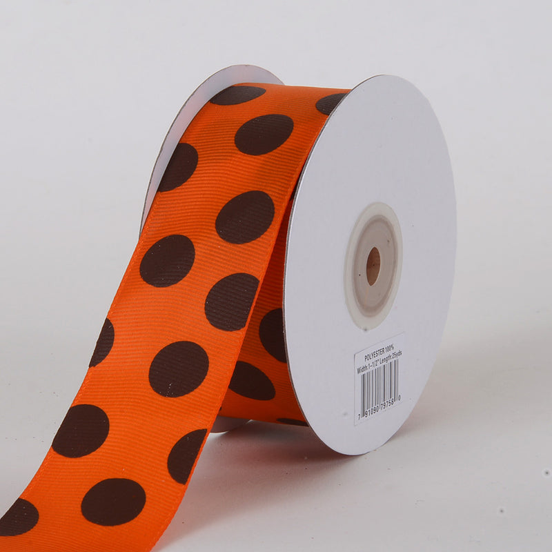 Grosgrain Ribbon Jumbo Dots Orange with Brown Dots ( W: 1-1/2 inch | L: 25 Yards )