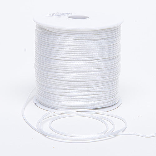 White - 3mm Satin Rat Tail Cord - ( 3mm x 100 Yards )