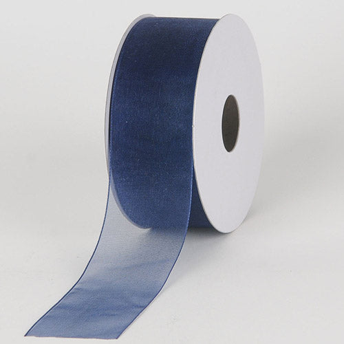 Navy - Sheer Organza Ribbon - ( 5/8 inch | 25 Yards )