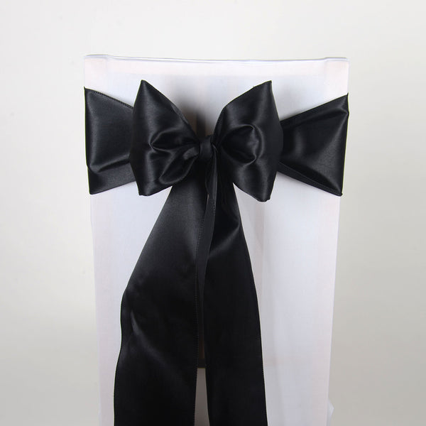Black - Satin Chair Sash - ( Pack of 10 Piece - 6 inches x 106 inches )