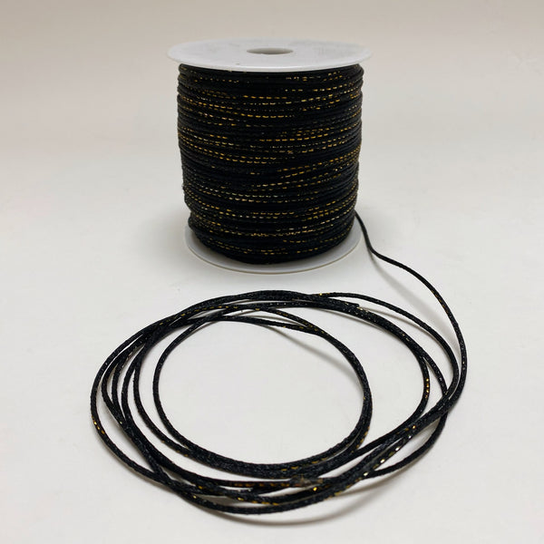Black with Gold - 2mm Satin Rat Tail Cord  - ( 2mm x 200 Yards )