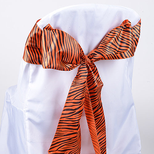 Orange - Animal Print Satin Chair Sash - ( Pack of 10 Pieces - 6 inches x 106 inches )