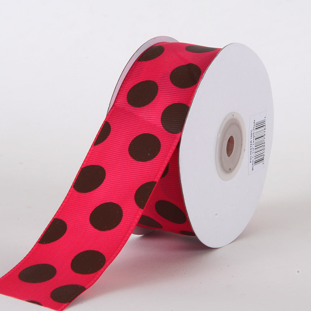 Grosgrain Ribbon Jumbo Dots Fuchsia with Brown Dots ( W: 1-1/2 inch | L: 25 Yards )