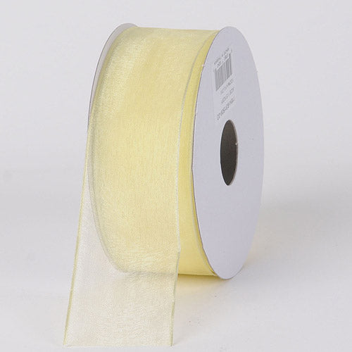 Baby Maize - Organza Ribbon Thin Wire Edge 25 Yards - ( 1-1/2 inch | 25 Yards )