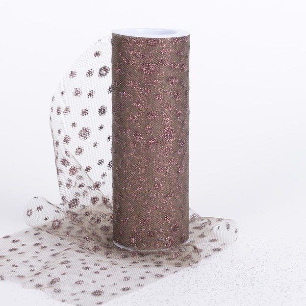 Chocolate - 6 Inch x 10 Yards Sparkle Dot Tulle - ( W: 6 Inch | L: 10 Yards )