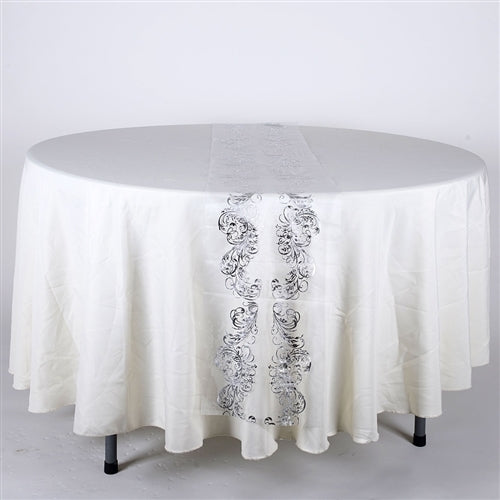 WHITE with SILVER Metallic ORGANZA Table Runner