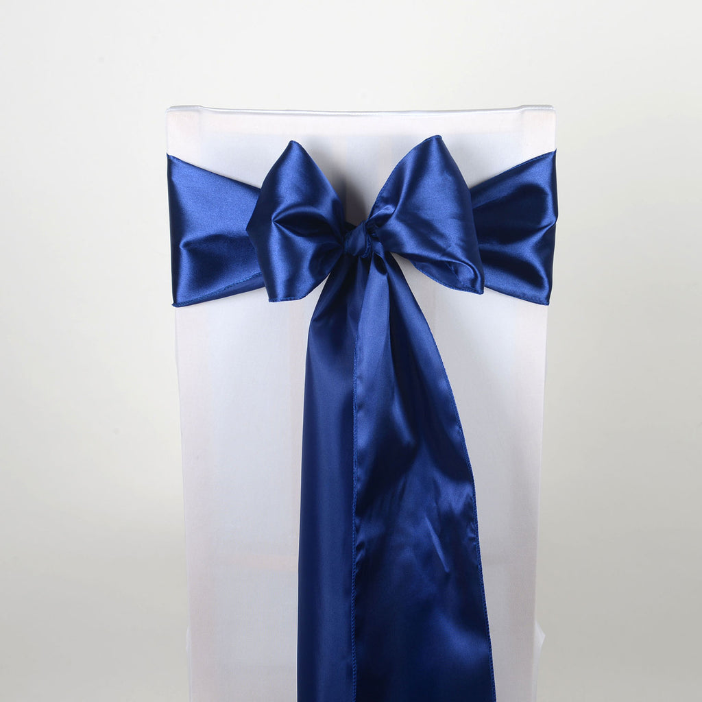 Navy - Satin Chair Sash - ( Pack of 10 Piece - 6 inches x 106 inches )