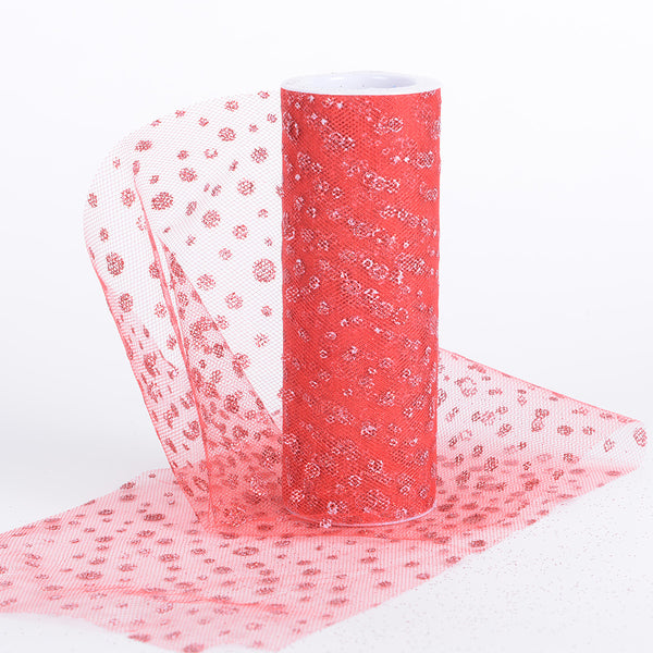 Red - 6 Inch x 10 Yards Sparkle Dot Tulle - ( W: 6 Inch | L: 10 Yards )