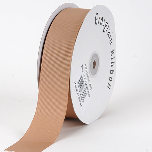 Tan - Grosgrain Ribbon Solid Color - ( W: 3/8 inch | L: 50 Yards )