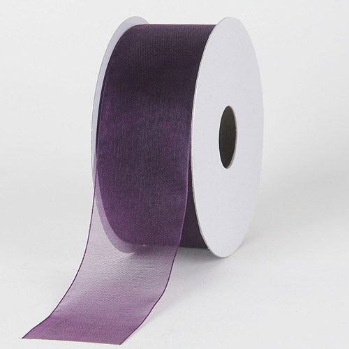 "5 Yards Dark Plum Purple Satin Sheer Edge Wired Ribbon 1 1//2/""W"