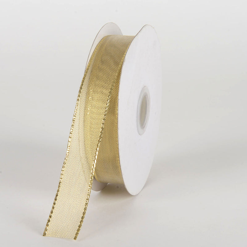 Gold - Double Face Wired Metallic Ribbon - ( 7/8 Inch x 25 Yards )
