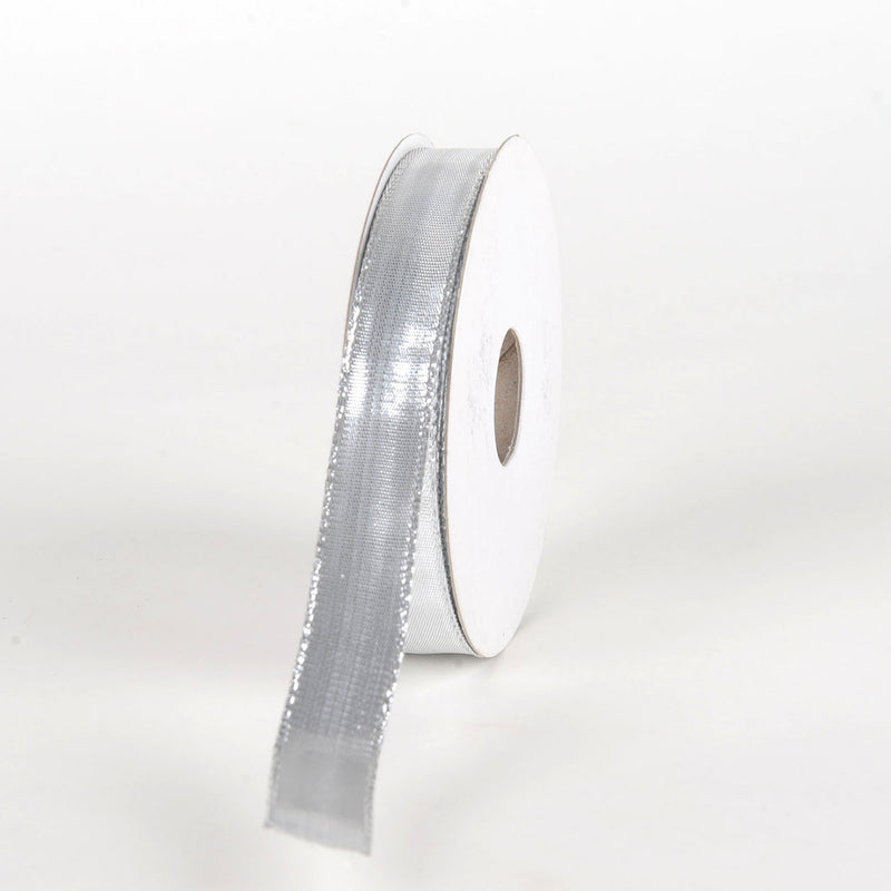 Silver - Double Face Wired Metallic Ribbon - ( 5/8 Inch x 25 Yards )