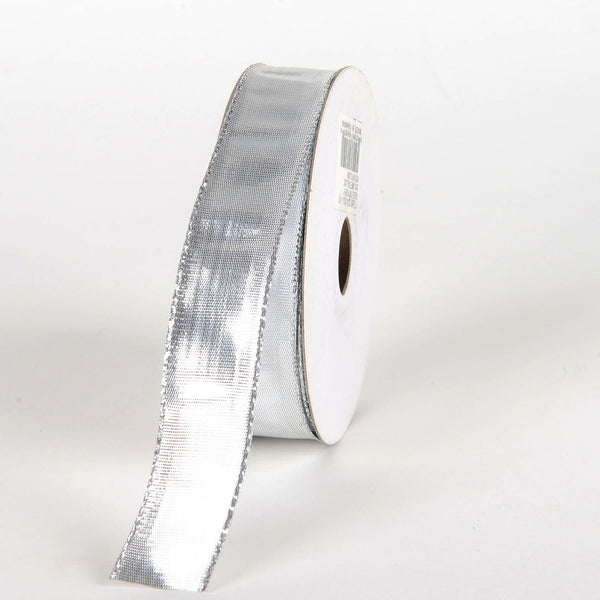 Silver - Double Face Wired Metallic Ribbon - ( 7/8 Inch x 25 Yards )