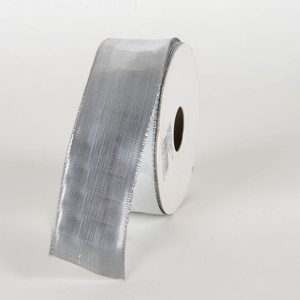 Silver - Double Face Wired Metallic Ribbon - ( 1-1/2 Inch x 25 Yards )