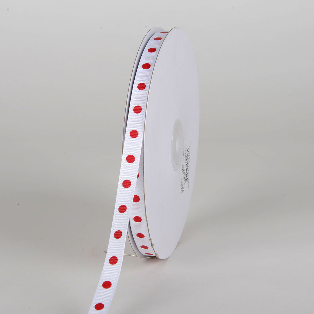 Grosgrain Ribbon Polka Dot White with Red Dots ( W: 3/8 inch | L: 50 Yards )