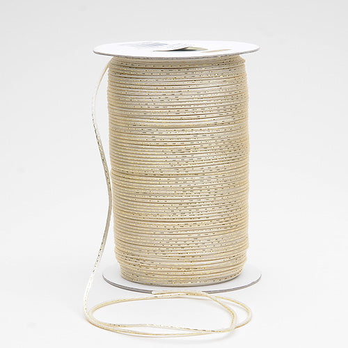 Ivory with Old Gold - 2mm Satin Rat Tail Cord  - ( 2mm x 100 Yards )