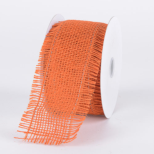 Orange - Frayed Edge Burlap Wired Edge - ( W: 2-1/2 Inch | L: 10 Yards )
