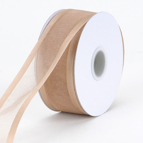 Toffee - Organza Ribbon Two Striped Satin Edge - ( 1-1/2 inch | 25 Yards )