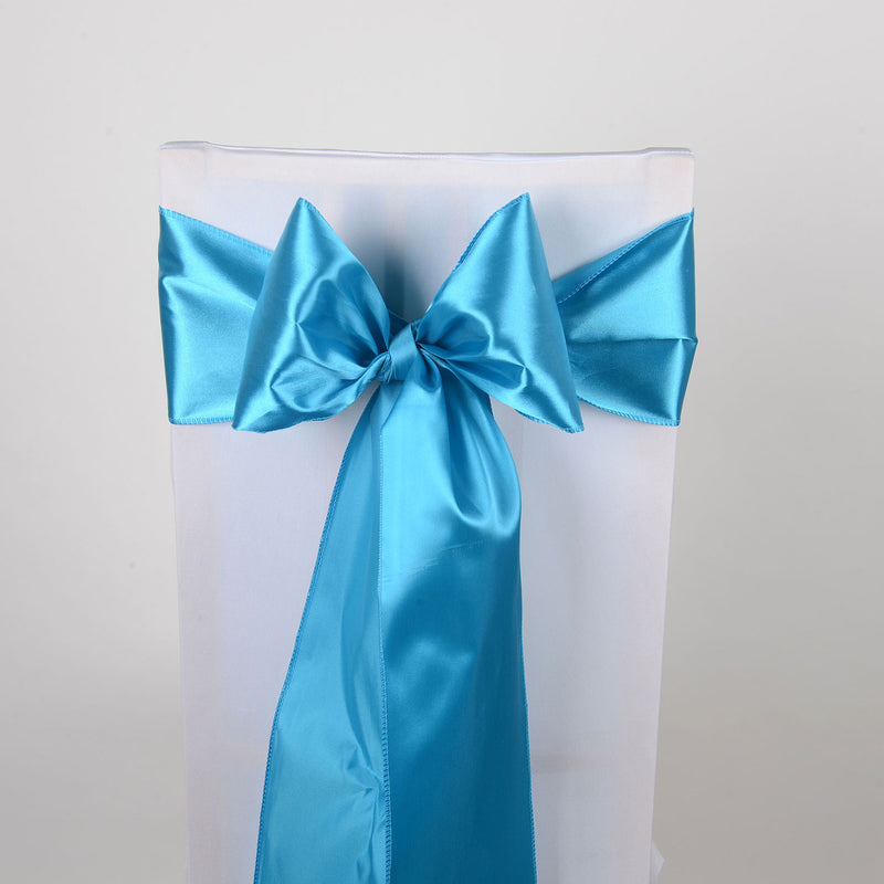 Turquoise - Satin Chair Sash - ( Pack of 10 Piece - 6 inches x 106 inches )