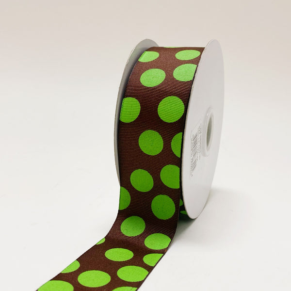 Grosgrain Ribbon Jumbo Dots Brown with Apple Green Dots ( W: 1-1/2 inch | L: 25 Yards )