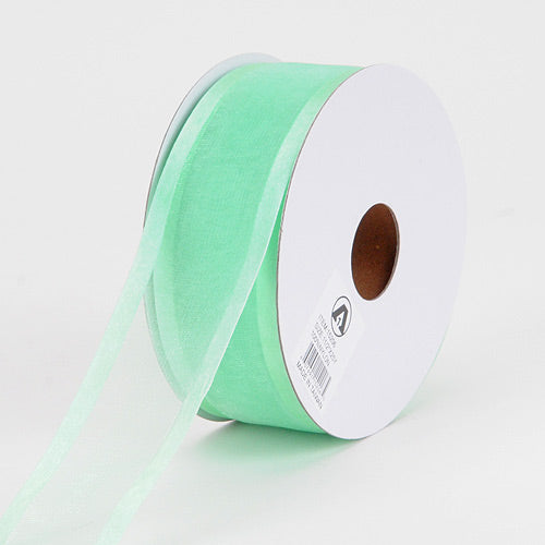 Mint - Organza Ribbon Two Striped Satin Edge - ( 5/8 inch | 25 Yards )